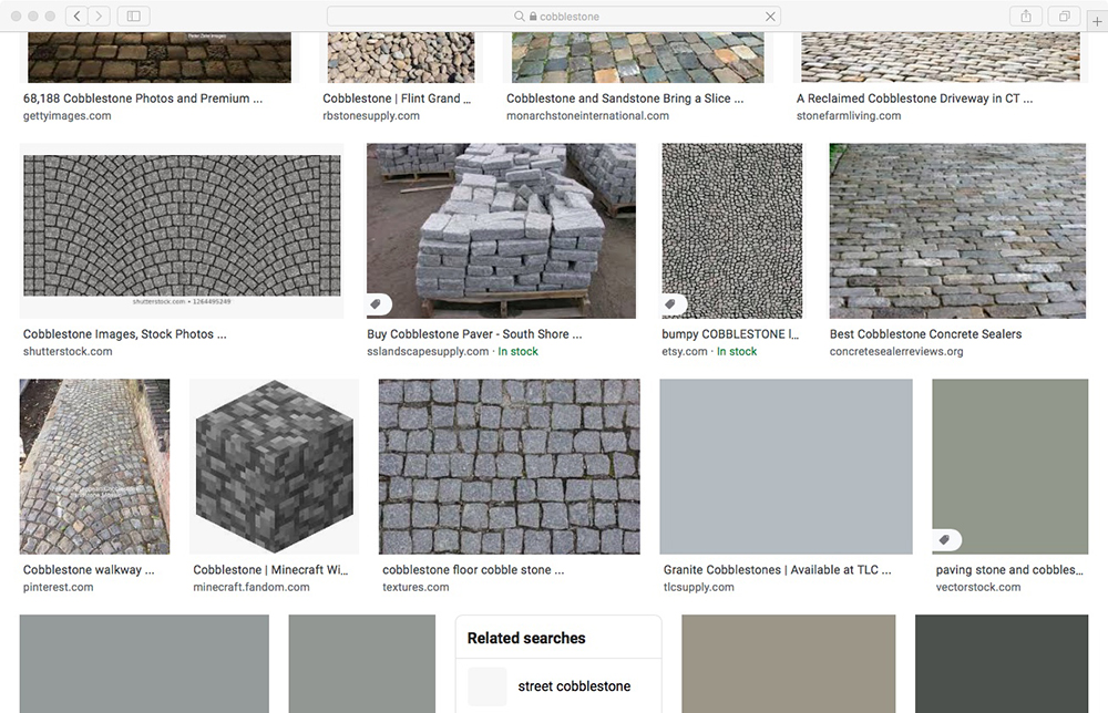 various images of cobblestones from a google search